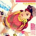 Nova moda 2013 hip hop Ds cor neon bloco Oco out malha traje de dança jazz estilo sem mangas topo das Mulheres