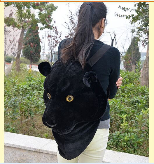 new lovely plush simulation black leopard head backpack new creative leopard head backpack gift 1446 simulation black