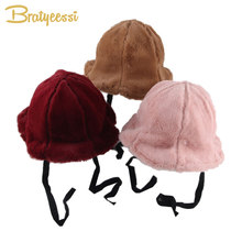 5cc4b106f4810a Princess Baby Girl Winter Hat Faux Fur Warm Winter Cap for Kids Solid Bucket  Hats Baby