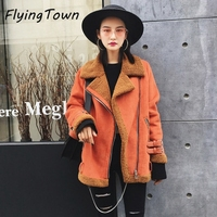 FlyingTown Gamuza invierno mujeres de la capa de lana gruesos calientes chaqueta da vuelta-abajo naranja moto outwear muchacha mujer calle estilo
