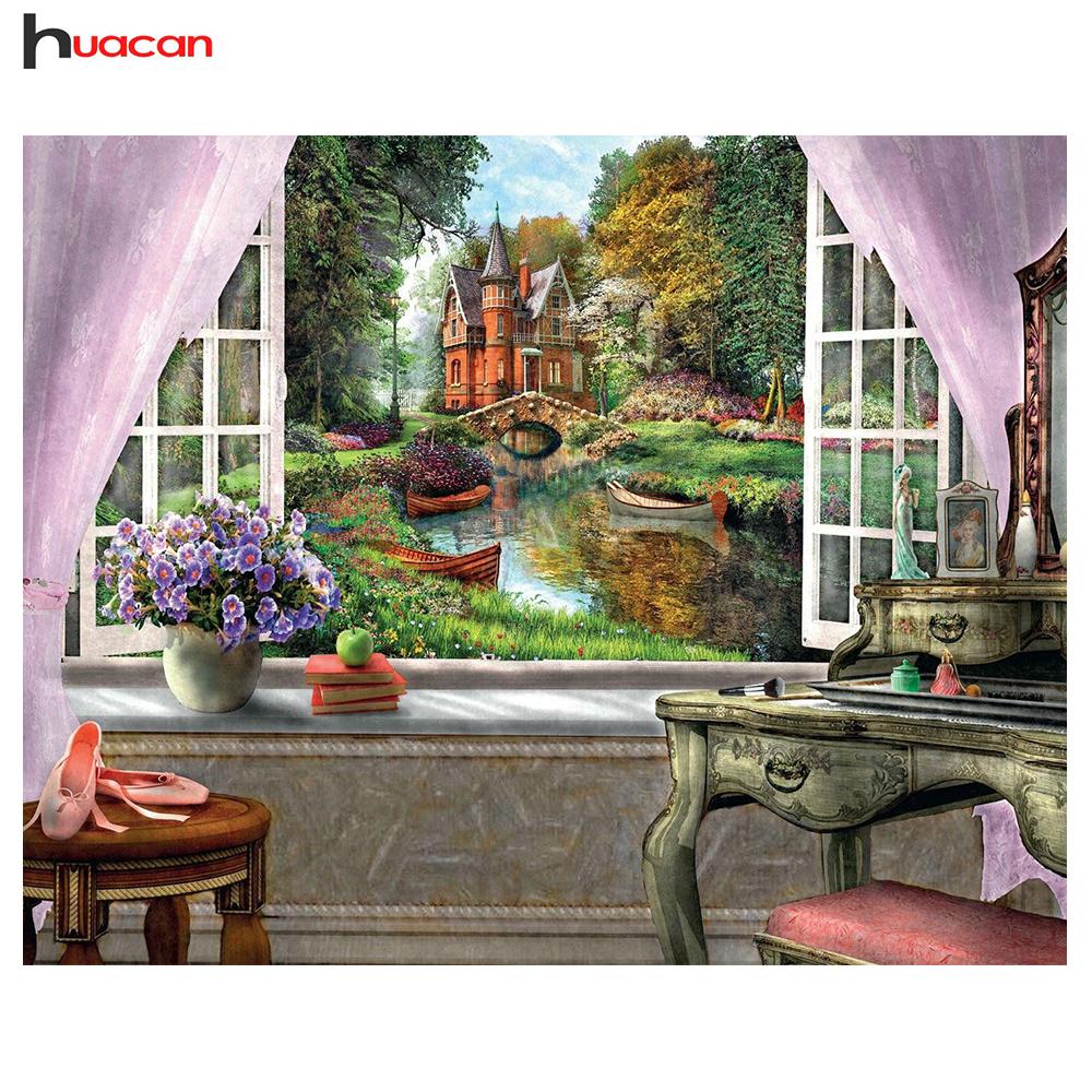 HUACAN, DIY Diamond Mosaic Landscape Garden Afbeelding van Rhinestones Full Square Crystals Diamond Embroidery Cross Stitch Kits