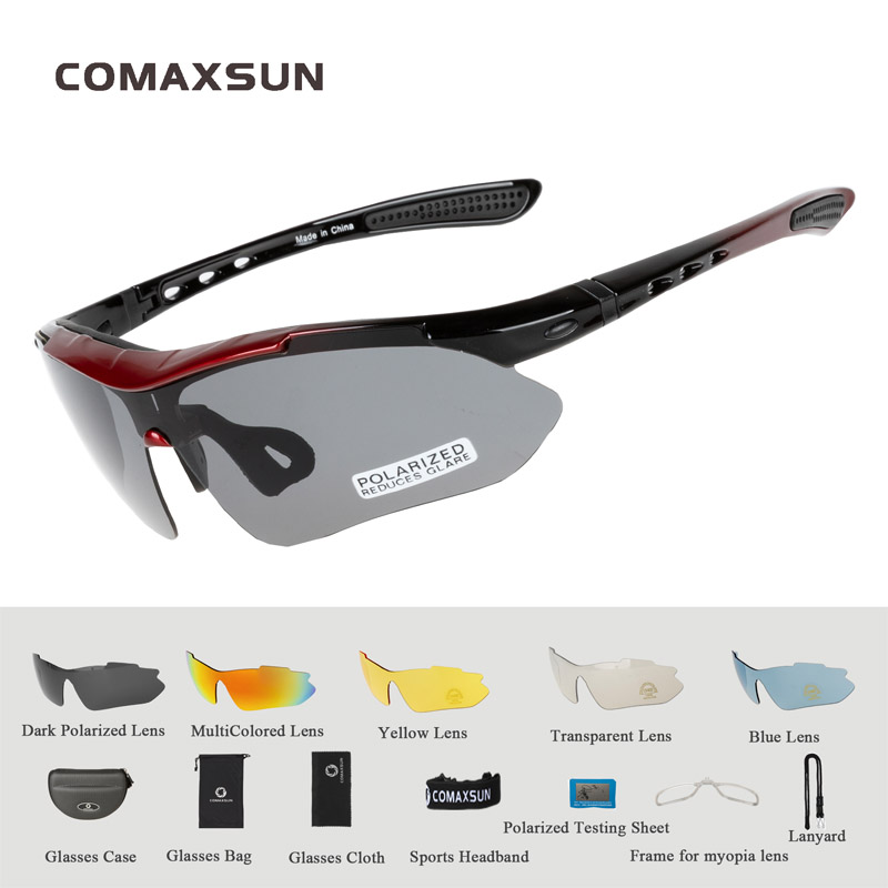 COMAXSUN Professional Polarized Cycling Glasses Bike Goggles Outdoor Sports Bicycle Sunglasses UV 400 With 5 Lens TR90 2 Style 8