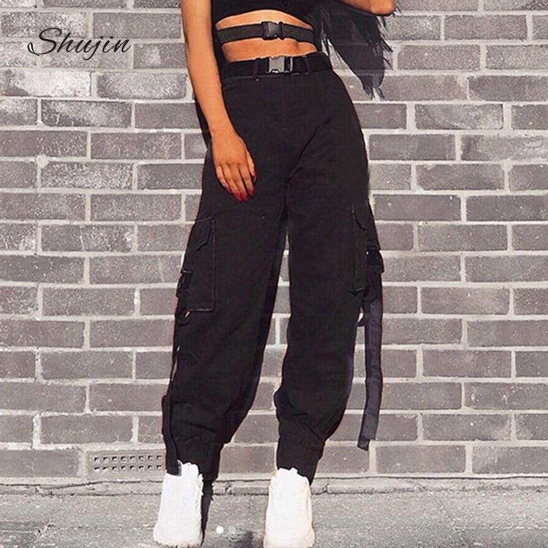 SHUJIN Streetwear Cargo Pants Women Casual Joggers Black High Waist Loose Female Trousers Korean Style Ladies Pants Capri