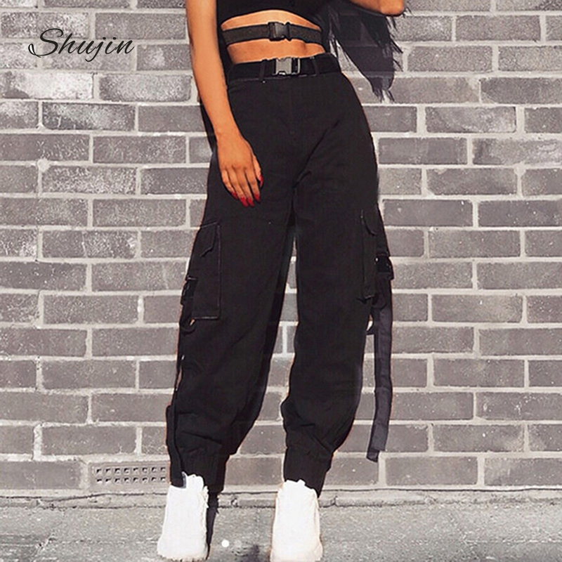 SHUJIN Streetwear Cargo   Pants   Women Casual Joggers Black High Waist Loose Female Trousers Korean Style Ladies   Pants     Capri