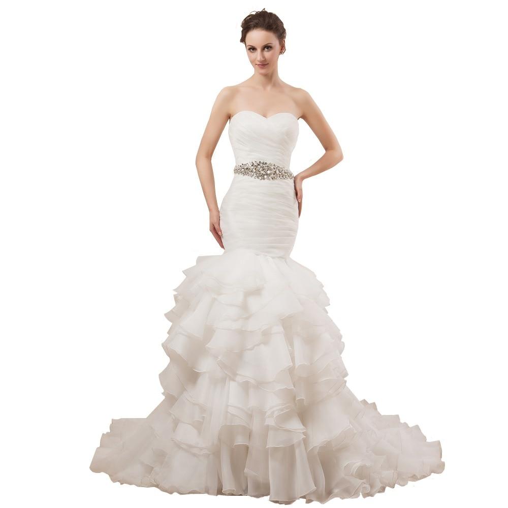 Women Ruffle Mermaid font b Wedding b font Dress Organza Strapless Tiered White font b Bridal