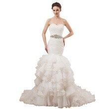 Women  Ruffle Mermaid Wedding Dress Organza  Strapless Tiered White  Bridal Gown Real  Custom Size