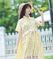 2017 luz de primavera y verano de color amarillo a cuadros niña hermana suave bordado longitud de la rodilla de manga corta dress de la muñeca floja vestidos