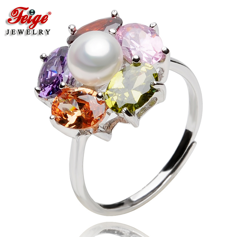 Flower Natural Pearl Ring for Women Anniversary Jewelry Gifts 6-7MM White Freshwater Cubic Zirconia Rings Fine Jewelry FEIGE