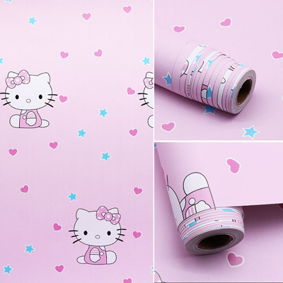 10M Kartun Lucu Kitty SpongeBob Doraemon Wallpaper Self Adhesive Backsplash Rusak Stiker Dinding Anak anak