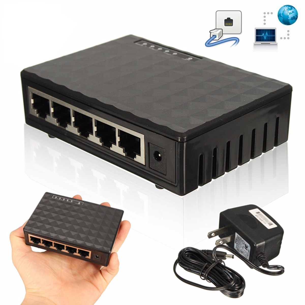 5V 5 Port Switch RJ45 10/100/1000Mbps Gigabit Ethernet Network Lan Switch Splitter LED Hub Support auto MDI/MDIX ...