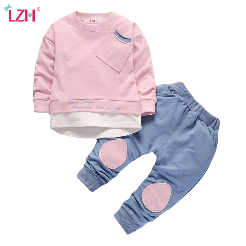 LZH Children Clothing 2018 Spring Autumn Baby Boys Clothes T-shirt+Pant 2pcs Outfit Kids Boys Sport Suit For Girls Clothing Sets