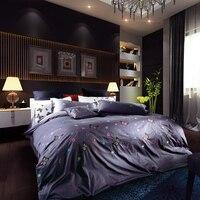 100%綿刺繍寝具セット王クイーンサイズ蝶ベッドセット4ピース布団カバーセットシーツリネン枕