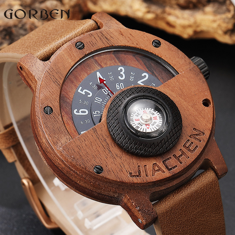 Unique Compass Turntable Number Design Mens Wooden Watch Men Brown Wood Leather Band Creative Natural Wood Wrist Watches Relogio(China)