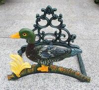 Soporte para manguera de jardín de hierro forjado pato decorativo manguera colgador para bobina país Rural montado en la pared de patio al aire libre casa