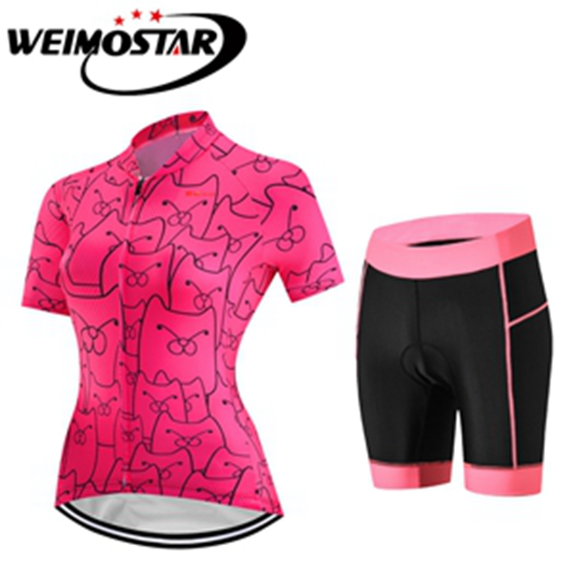 2018 Summer Womens Cycling Jersey Short Sleeve Set Cycling Clothing Cycle Wear MTB bicycle Clothing Short Sleeve T-shirt shorts