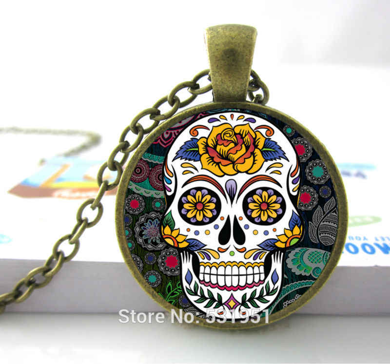 Hot Sale Glass Dome Jewelry Rose Giant Cutout Sugar Skulls Necklace Pendants Skull Necklace For Men/ Women