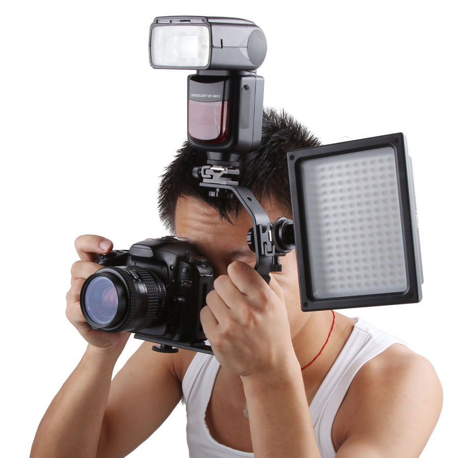 Camera Flash Adapter SB900 580EX Flash Light Stand Bracket Double Hot Shoe Mount Holder Photography Studio Accessories цена 2017