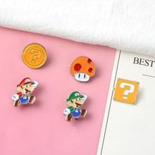7ec07614c01 Super Mario! Cartoon Kawaii zinklegering tie pins badges para shirt bag  kleding cap rugzak schoenen broche badge medailles decor.