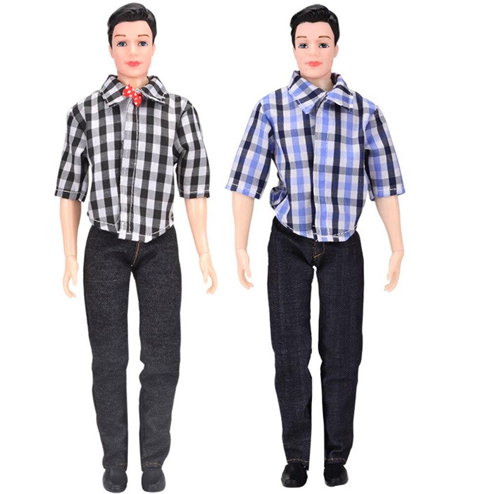 901244ab8e9c4 NK 2 Adet/takım Bebek Ken Için giyim Takım Elbise Gündelik Giyim bebekler  Barbie Ken Doll Için Rahat Ekose Bluz Pantolon Giymek aksesuarları