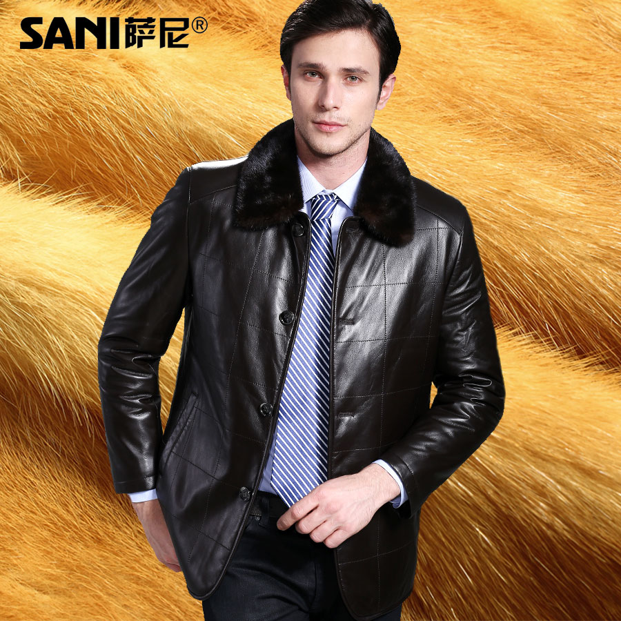 2017 Formal Commercial Luxury Golden Mink Fur Hair Lining Mink Hair Collar Plaid Sheepskin Fur Genuine Leather Winter Jackets