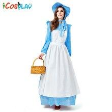 2019 blue new Renaissance costume Halloween cosplay parent-child European colonial pastoral wind suit adult maid wear