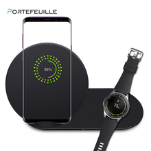 PORTEFEUILLE 2in1 drahtlose ladegerät für iphone 8 X XS XSMAX XR 10W qi wireless ladegerät für samsung galaxy s9 s8 plus galaxy Uhr