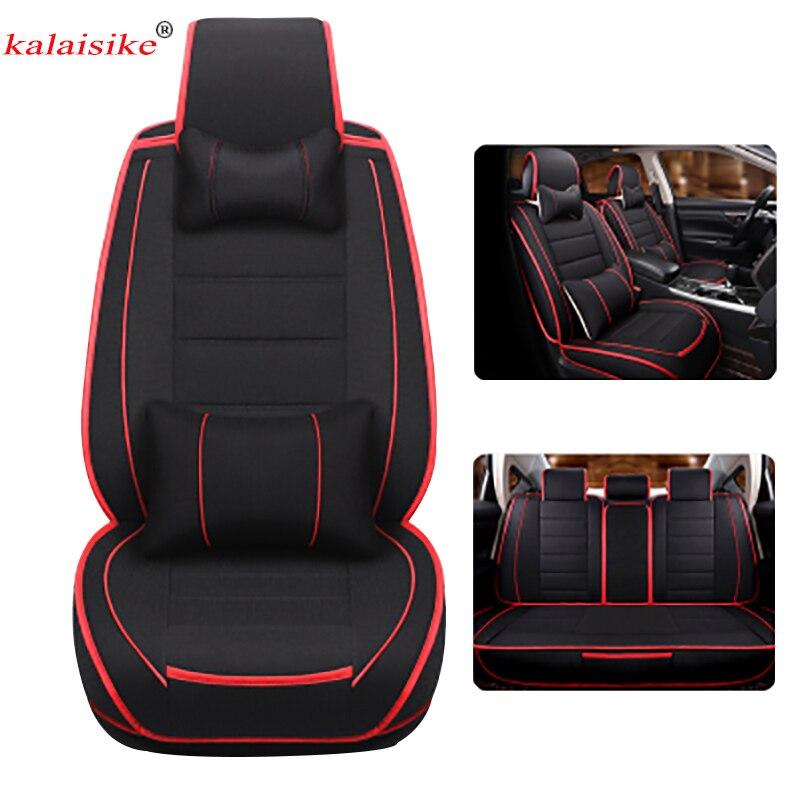 Housses de siège auto universelles en lin Kalaisike pour Volkswagen tous modèles polo passat golf tiguan vw Passat jetta Phaeton touareg