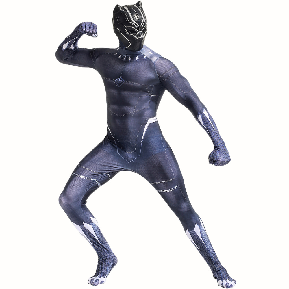 Mens Black Panther Costume 3D Printed Black Panther Bodysuit Hallowen Black Panther Jumpsuit Cosplay Costume with mask