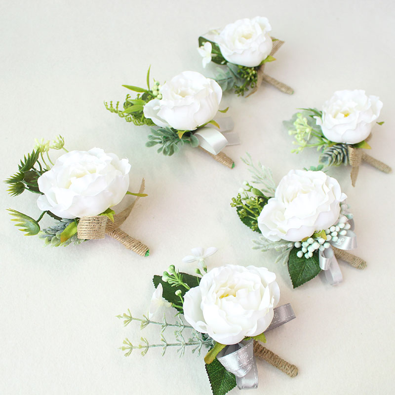 boutonniere prom wedding groom flower marriage corsages white pink roses  (17)