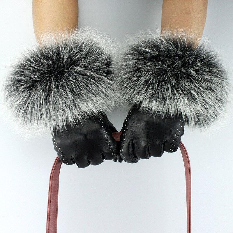 Apparel Accessories Jkp 2018 New Ladies Leather Gloves Female Fox Fur Mouth Plus Velvet Sheepskin Gloves Warm Touch Screen Fashion Gloves St-011
