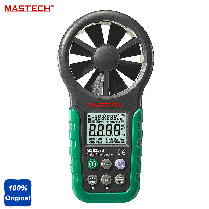 MS6252B Professional Digital Anemometer Air-Velocity Flow Testing Humidity Tester T&RH Sensor digital indoor air quality carbon dioxide meter temperature rh humidity twa stel display 99 points made in taiwan co2 monitor