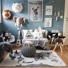 Детские игровые коврики для ползания, коврики, мировой плед с принтом карты, развивающий детский игровой коврик, украшение комнаты, пол, Декор, ковер 140*90 см