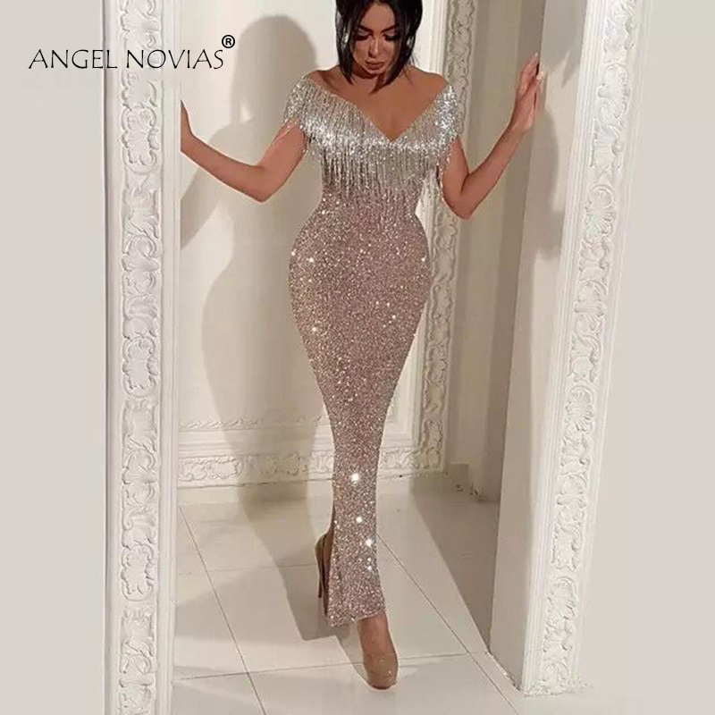 ANGEL NOVIAS Long Mermaid Glitter Abendkleider Saudi Arabic Women   Evening     Dresses   2018 Avondjurken 2018 Custom Made
