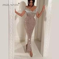 ANGEL NOVIAS Long Mermaid Glitter Abendkleider Saudi Arabic Women Evening Dresses 2018 Avondjurken 2018 Custom Made