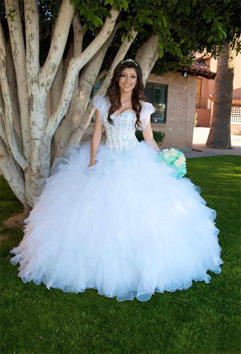 Popular White Quinceanera Dresses with Rhinestones-Buy Cheap White ...