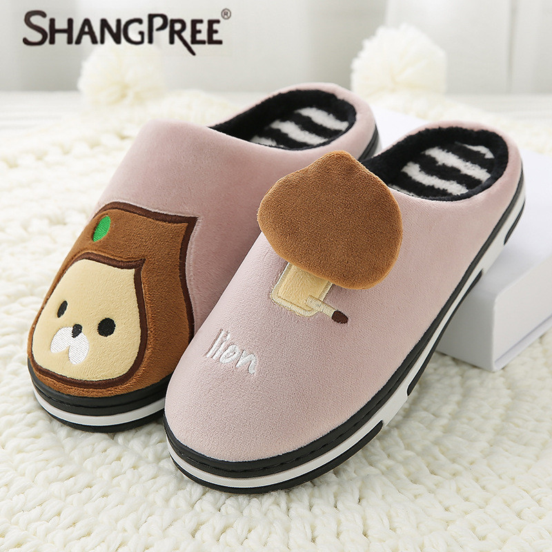 New Women slippers Cartoon cute cotton slippers Lovers winter thickening non-slip home indoor slippers fur warm cotton slippers slipper