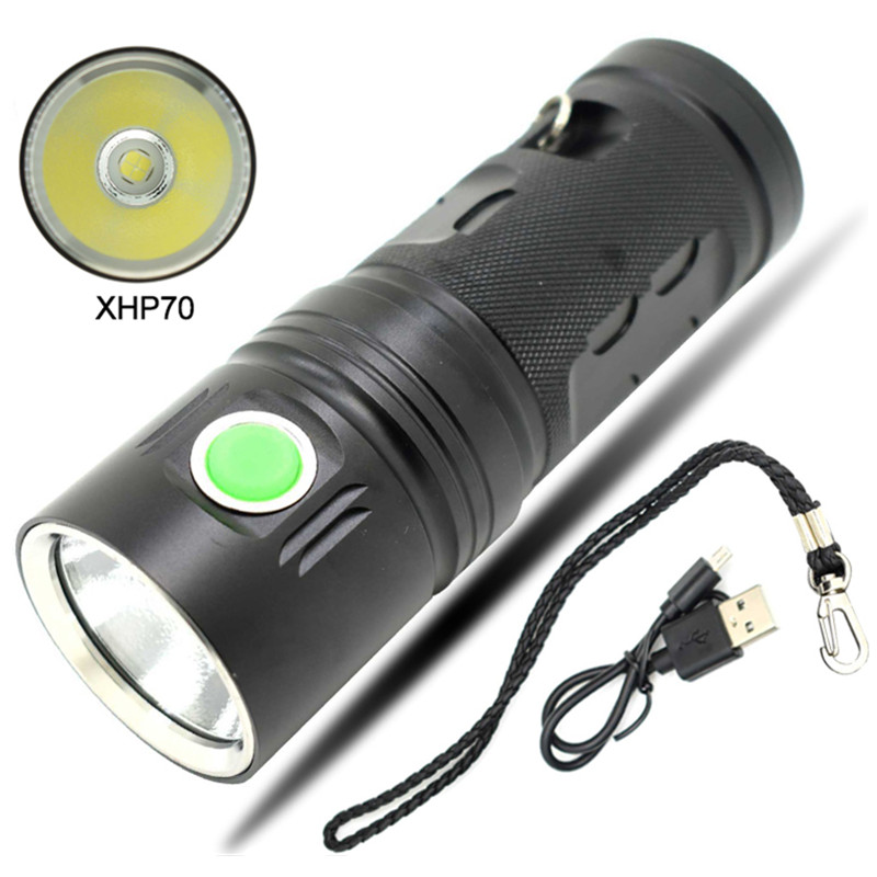 New XHP70 Powerful LED Flashlight USB Rechargeable Led Torch 3 Mode Portable Outdoor Lighting Linterna Lanterna by 18650 battery portable 5 mode cob flashlight torch usb rechargeable led work light magnetic cob lanterna hanging tent lamp built in battery