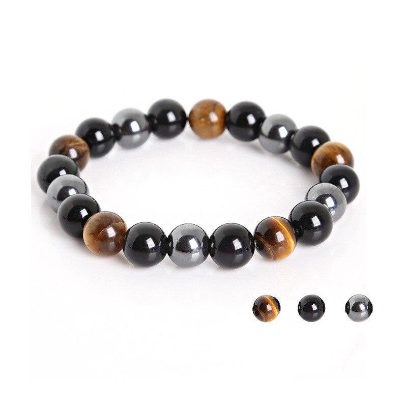 Лидер продаж 2018, новый браслет из тигрового глаза, гематита и черного обсидиана 6 мм, 8 мм, 10 мм, каменный браслет, ювелирные изделия для женщин...