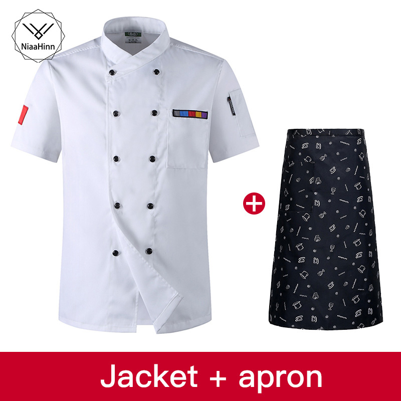 High Quality White Wholesale Women Men Short-sleeve Double Breasted Kitchen Work Wear Chef Jacket Restaurant Uniform Chef Coat