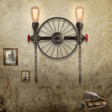 Creative personality iron wheel Retro lamps loft wall light industrial restaurant bar cafe wall lights office study bra sconce modern magic bean double head wall lamp ceiling hanging wall light corridor lights edison wall sconce lamps for cafe restaurant