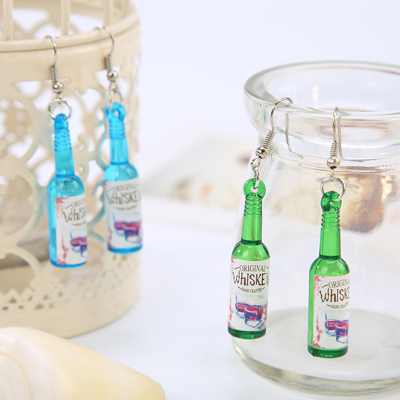 KARASU New Trendy Beer Bottles Earrings Eardrop Dangle Earrings for Women Girls Personality Party Earring Jewelry Party Gifts