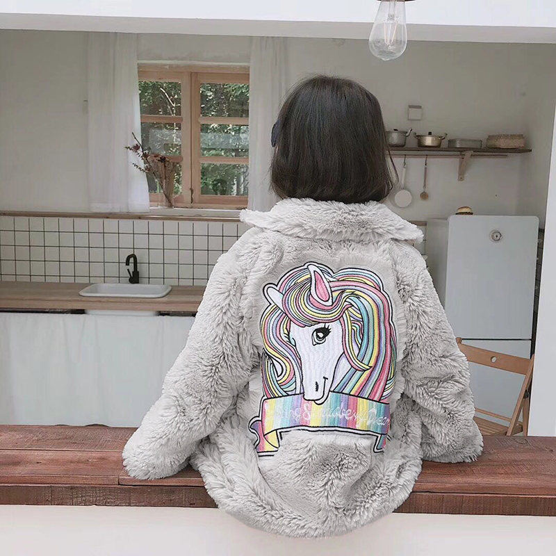 4949e5ddc 2 10Y Girls Faux Fur Coat Kids Fur Jackets Unicorn Embroidery Baby ...