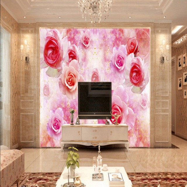 Custom photo wallpaper Beautiful flower mural TV background wall ...