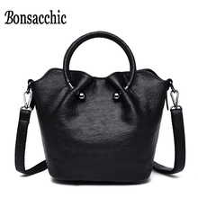 Black Leather Top Handle Tote Bags New Ladies Hand Luxury Handbags Women Bucket Designer Ring Female Handbag