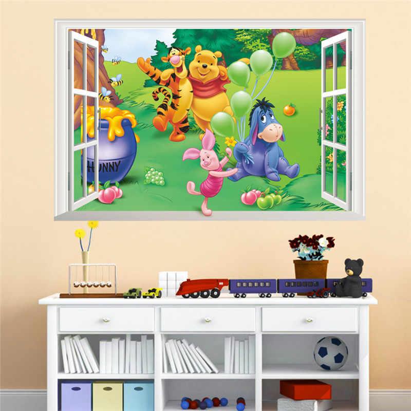 Cartoon Window Winnie Pooh Bear Tiger Pig Wall Stickers For Kids Room Baby Nursery Home Decor Decal Mural Poster Art