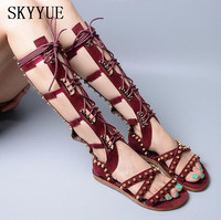New Genuine Leather Metal Studded Gladiator Knee HIgh Lace Up Women Summer Sandals Boots Sexy Open Toe Women Flats Sandals