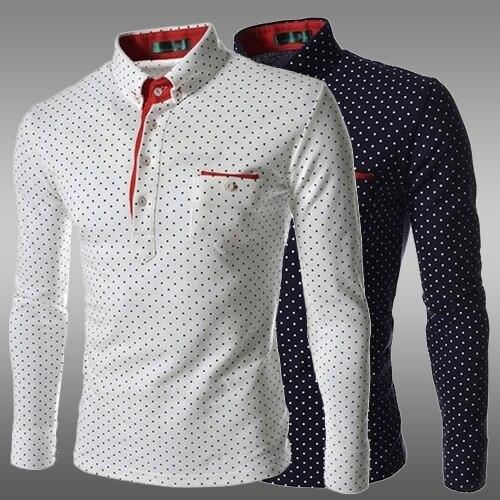 3f6674f900 China tamaño m 3xl moda Polka Dot hombre casual blanco Negro Azul Tuxedo  Camisas de traje manga larga slim fit camisas hombre en Camisas de esmoquin  de ...