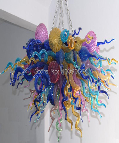 Lustre moderne en verre soufflé multicolore en gros