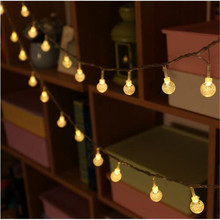 5M 28LED Globe String Lights Warm White/White Crystal Ball Fairy Light for Party Christmas Wedding New Year Indoor Decoration ac220v 5m 28led crystal bubble water drop string fairy lights for wedding party christmas decorations for home outdoor indoor