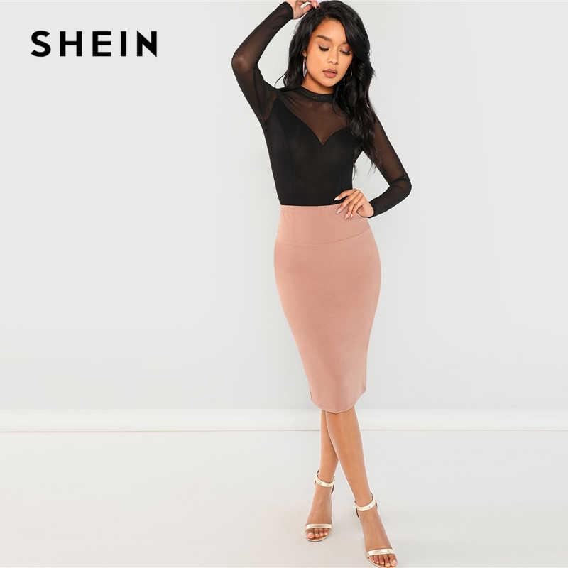 ... SHEIN Black Office Lady Elegant Mock Neck Mesh Panel Long Sleeve Skinny  Solid Bodysuit 2018 Autumn ... 2502768a8